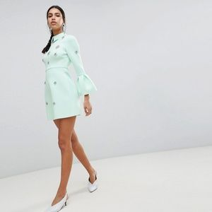 ASOS DESIGN scuba embellished a-line mini dress